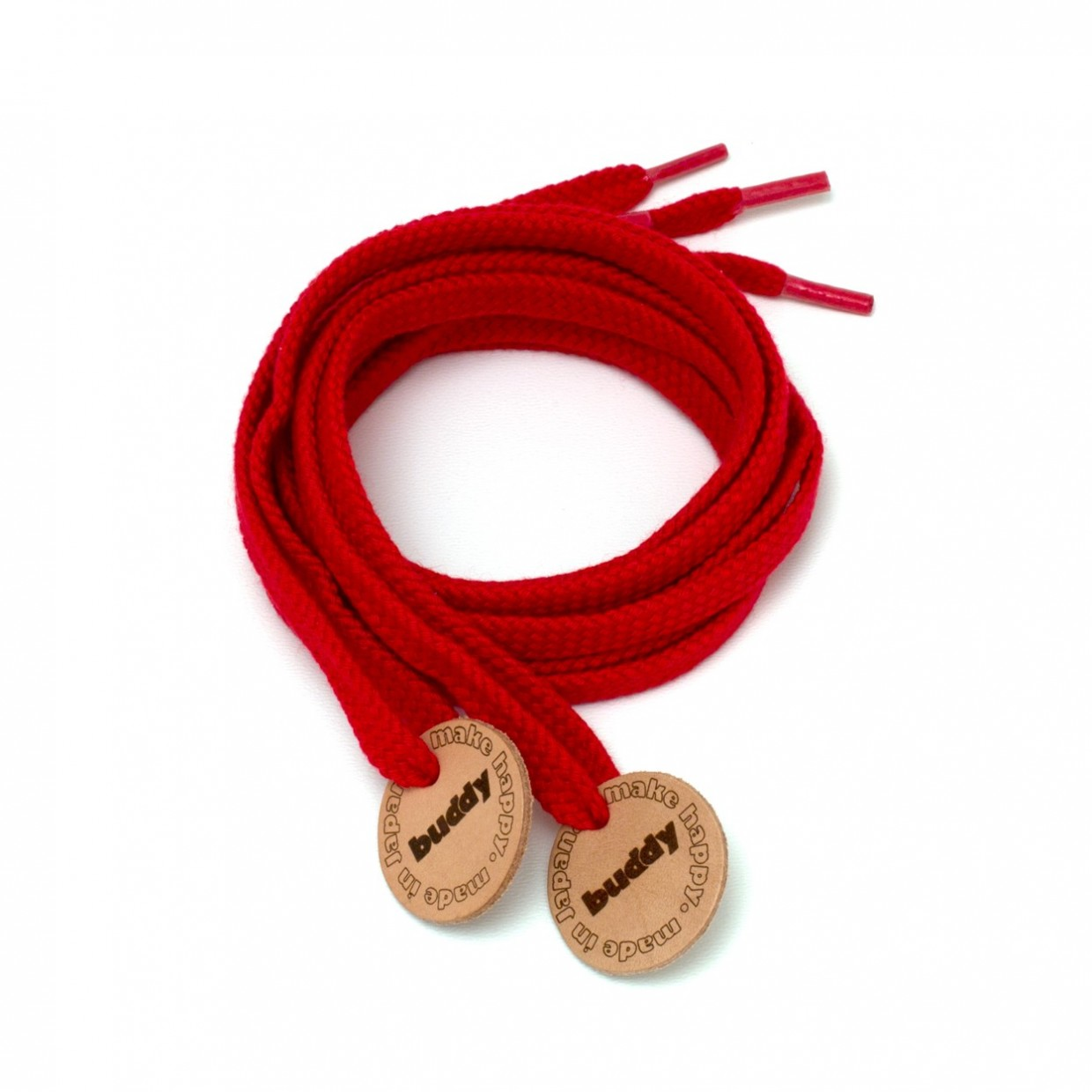 Shoelaces Red with Leather patch buddy Natural