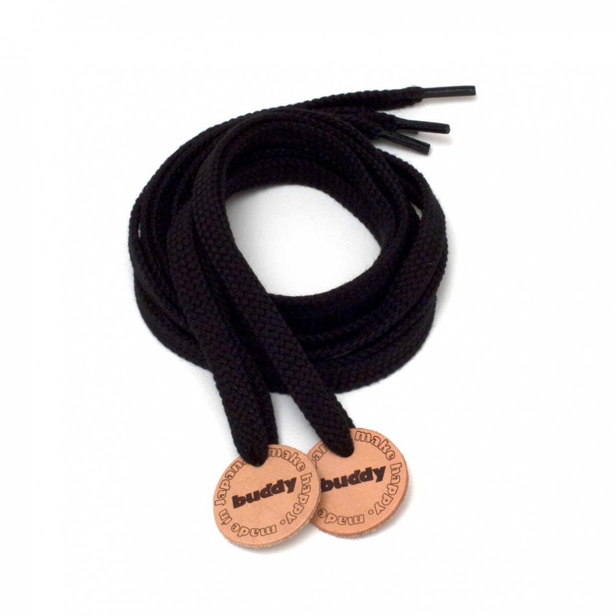 Shoelaces Black with Leather patch buddy Natural