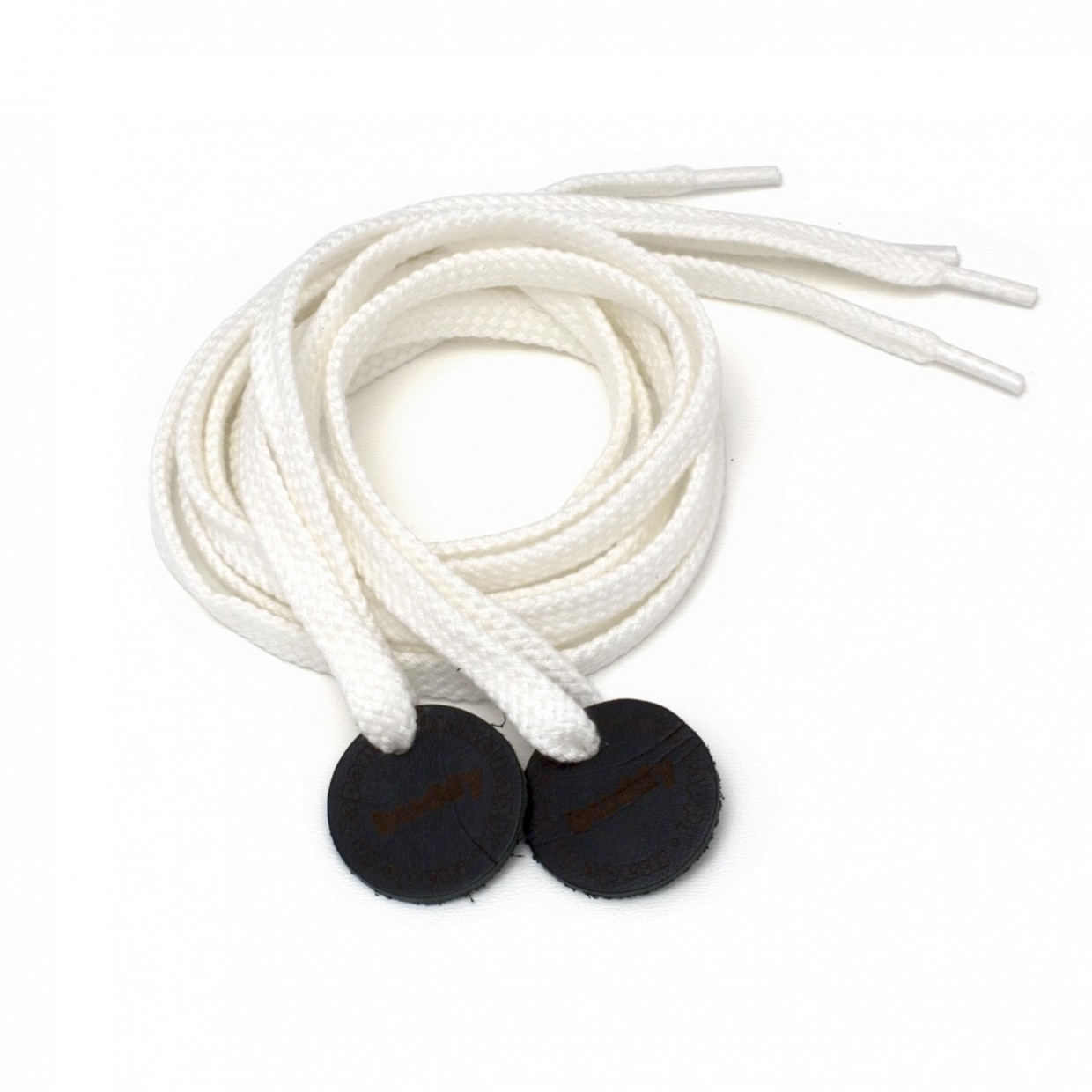 Shoelaces Wihite with Leather patch buddy