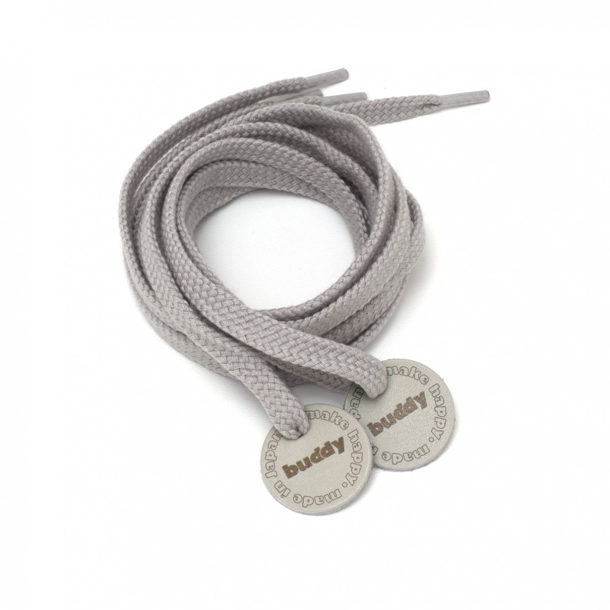 Shoelaces Grey with Leather patch buddy Natural