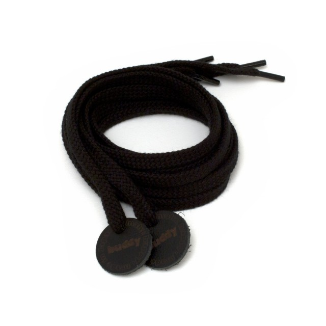 Shoelaces Black with Leather patch 130 cm : 51""
