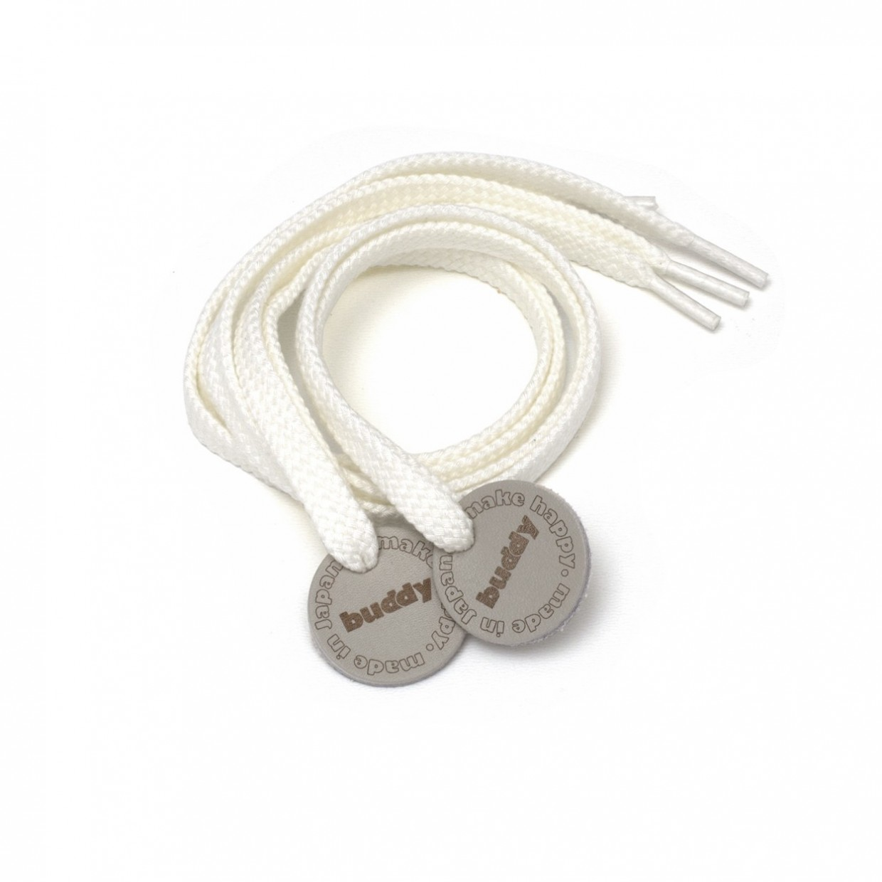 Shoelaces Wihite with Leather patch