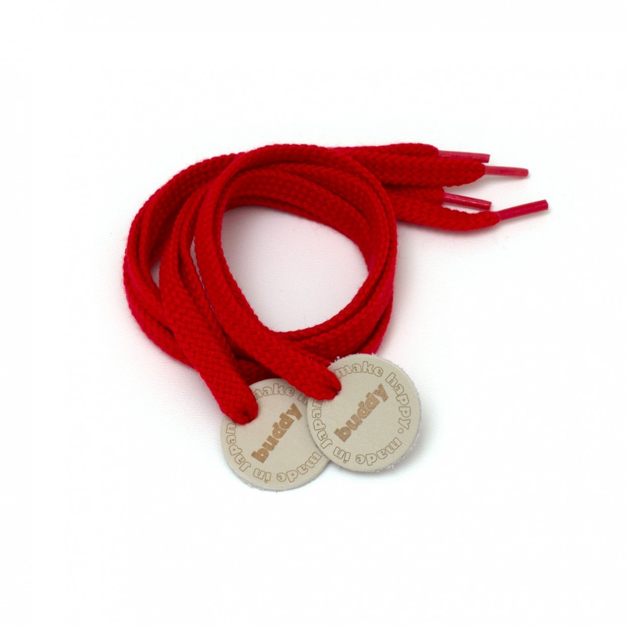 """Shoelaces Red with Leather patch 78 cm : 31 """""""