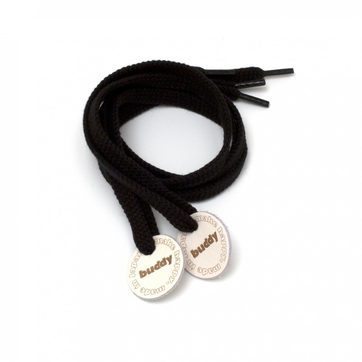 """Shoelaces Black with Leather patch 78 cm : 31 """""""
