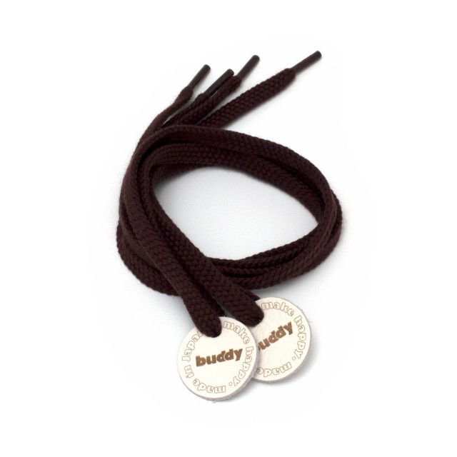 Shoelaces Brown with Leather patch 78 cm : 31 ""