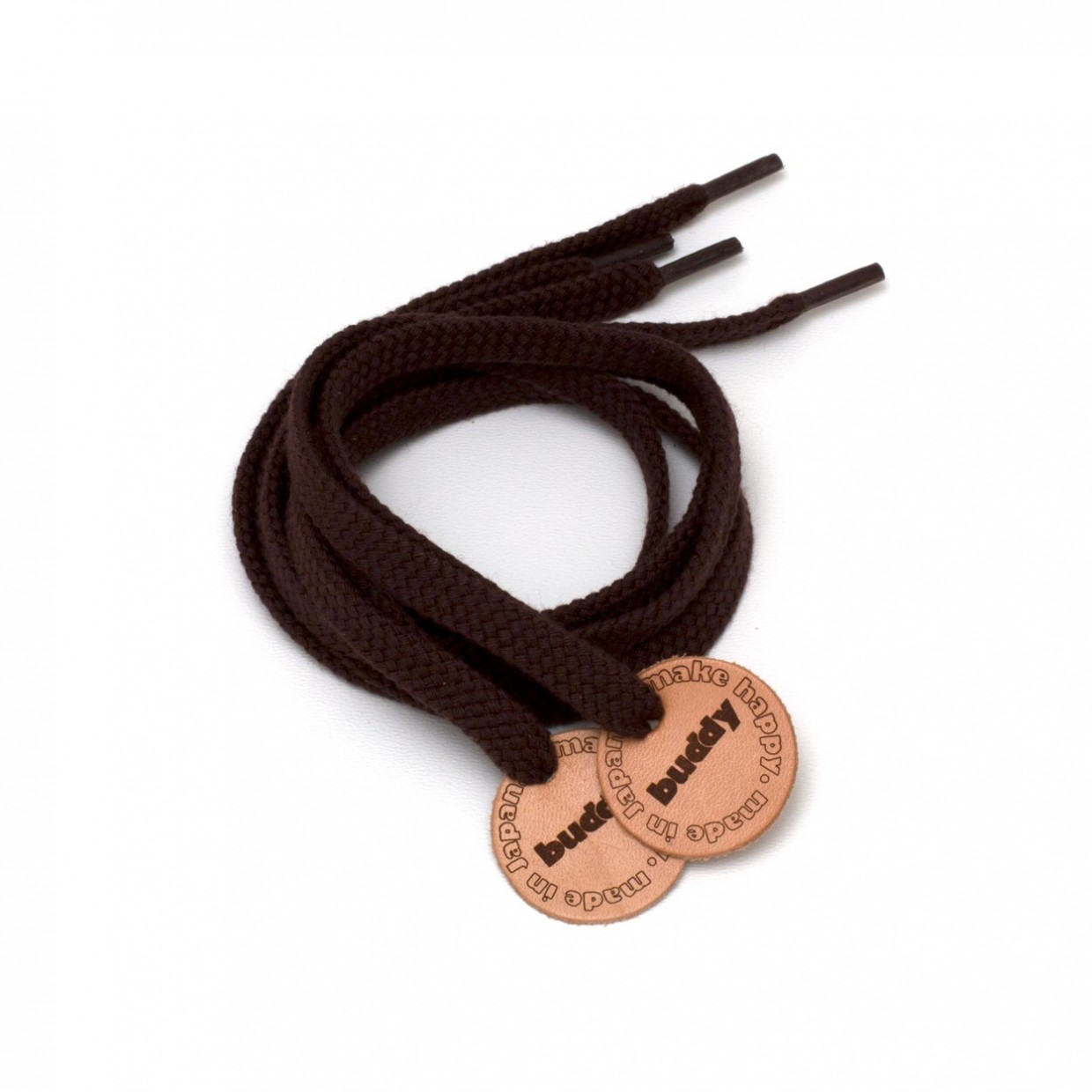 """Shoelaces Brown with Leather patch 78 cm : 31 """""""
