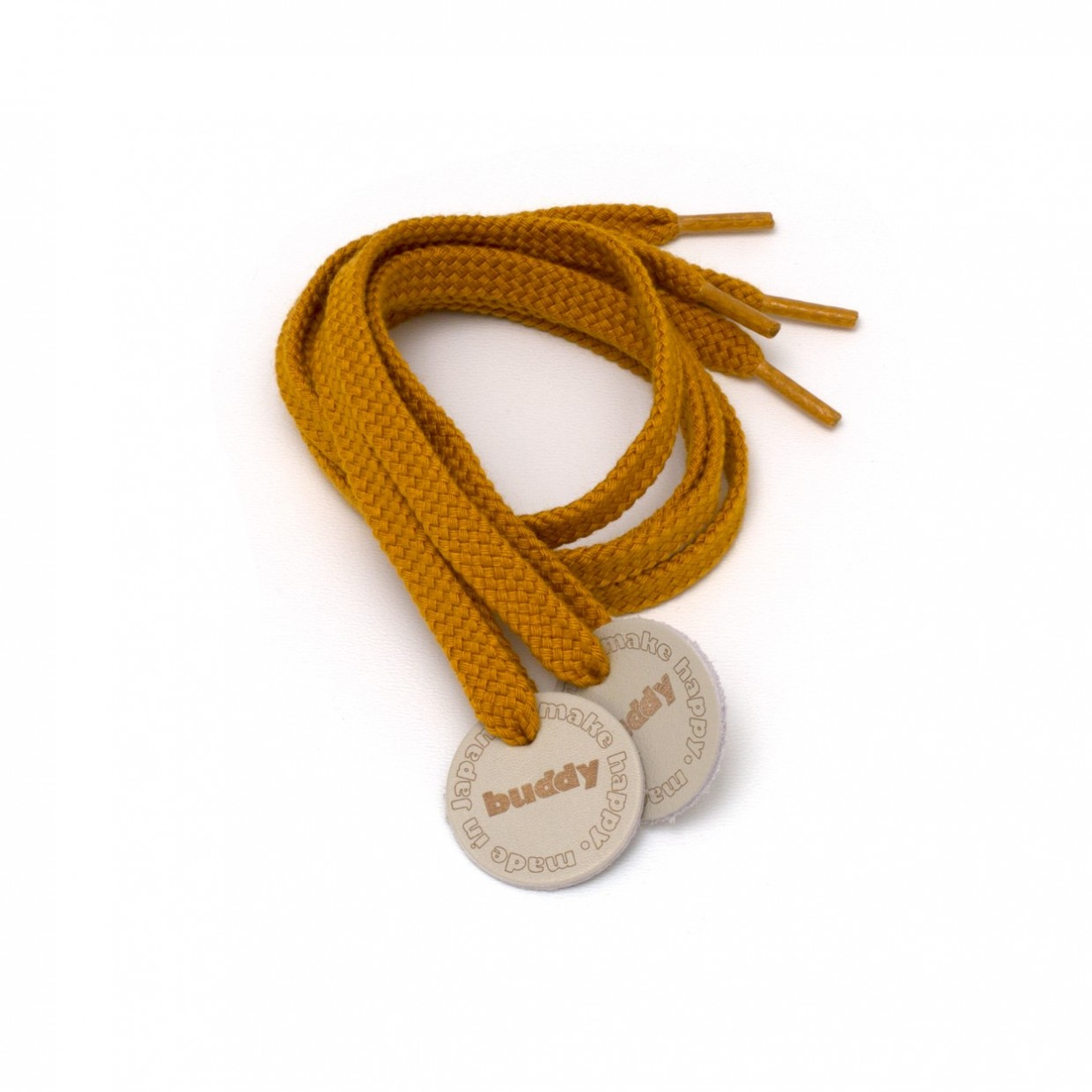 """Shoelaces Mustard with Leather patch 78 cm : 31 """""""