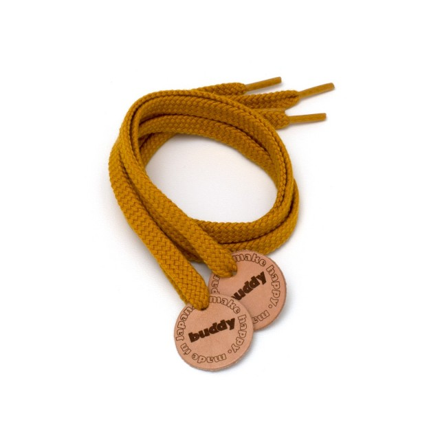 Shoelaces Mustard with Leather patch 78 cm : 31 ""