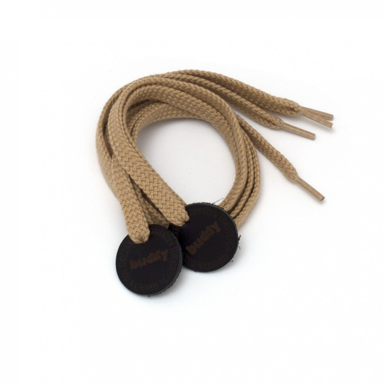 """Shoelaces Camel with Leather patch 78 cm : 31 """""""