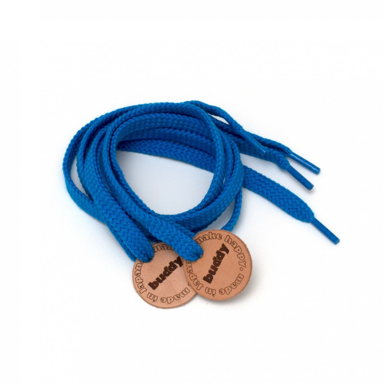 Shoelaces Blue with Leather patch 78 cm : 31 ""