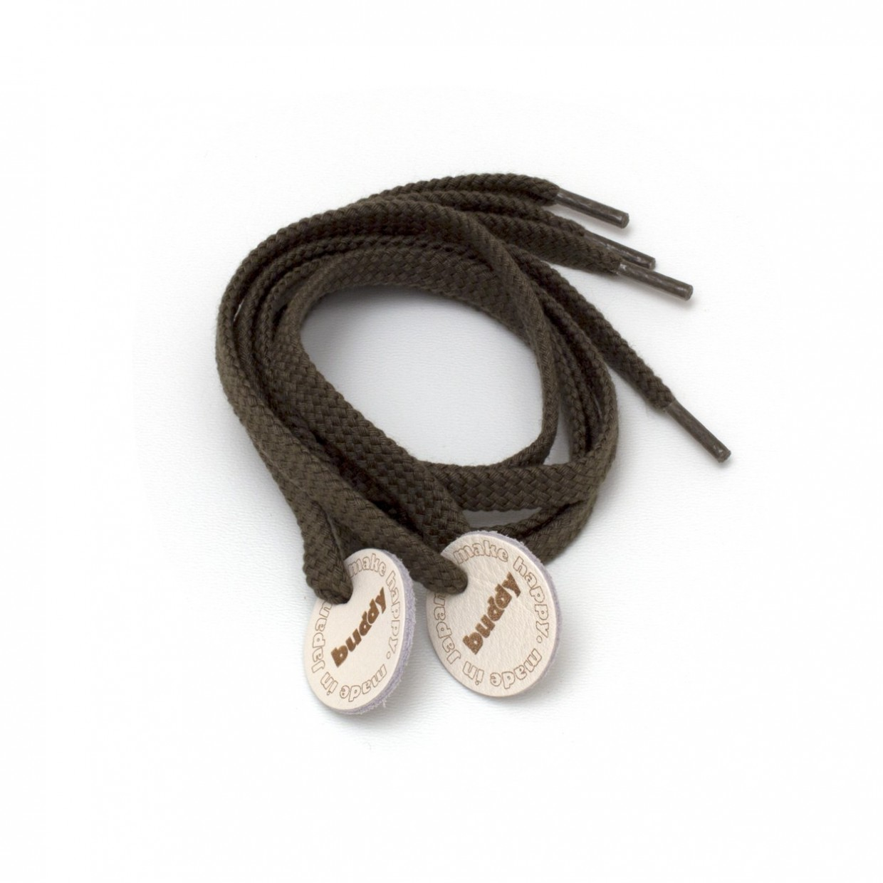 Shoelaces Olive with Leather patch 78 cm : 31 ""