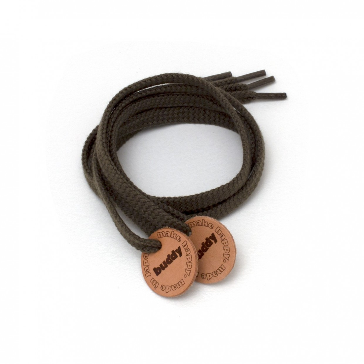 """Shoelaces Olive with Leather patch 78 cm : 31 """""""