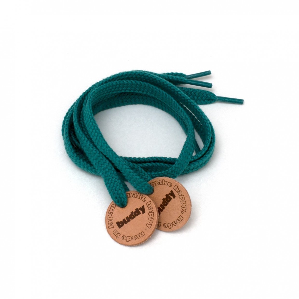 Shoelaces Green with Leather patch 78 cm : 31 ""