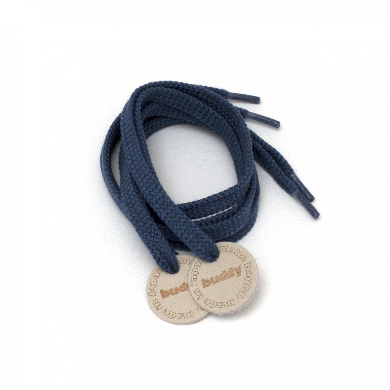 """Shoelaces Navy with Leather patch 78 cm : 31 """""""