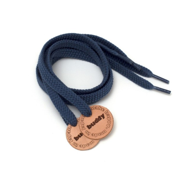 Shoelaces Navy with Leather patch 78 cm : 31 ""