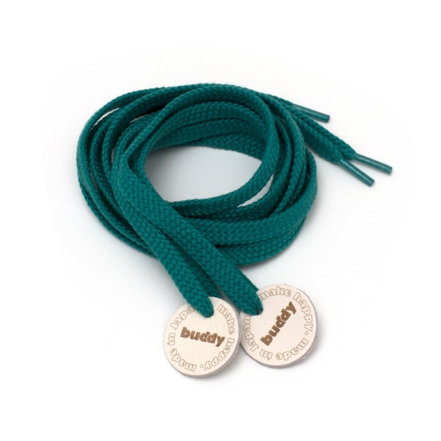 Shoelaces Green with Leather patch 130 cm : 51""