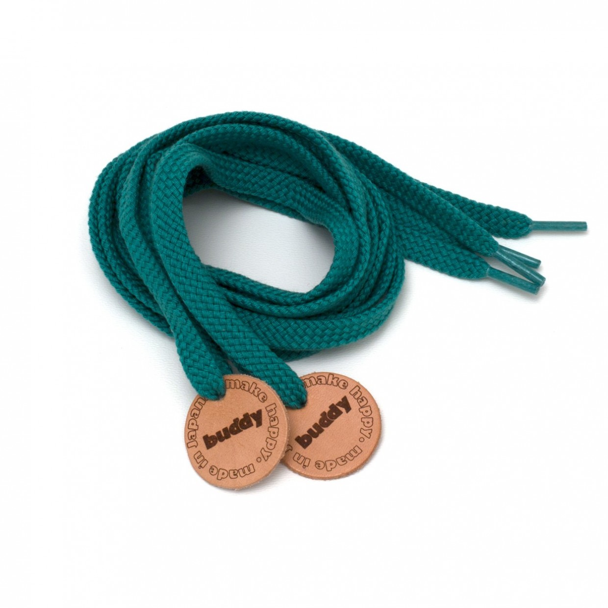 """Shoelaces Green with Leather patch 130 cm : 51"""""""