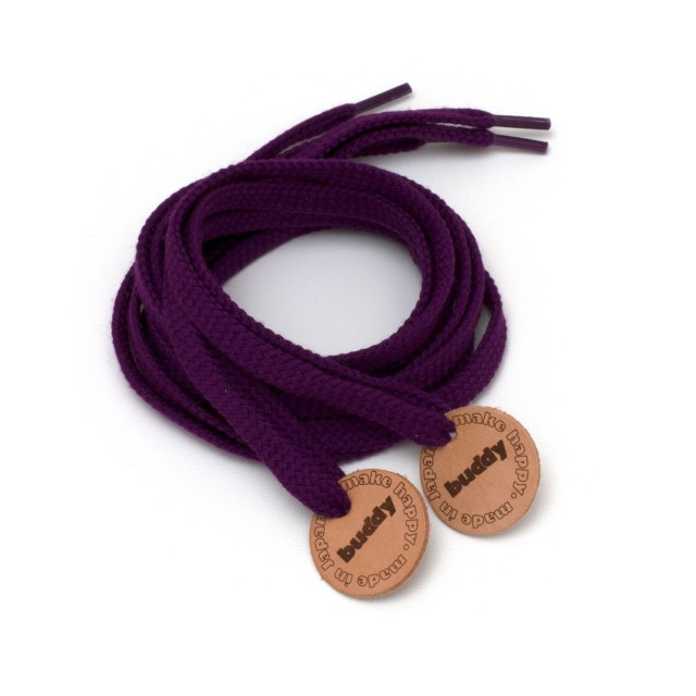 """Shoelaces Purple with Leather patch 130 cm : 51"""""""
