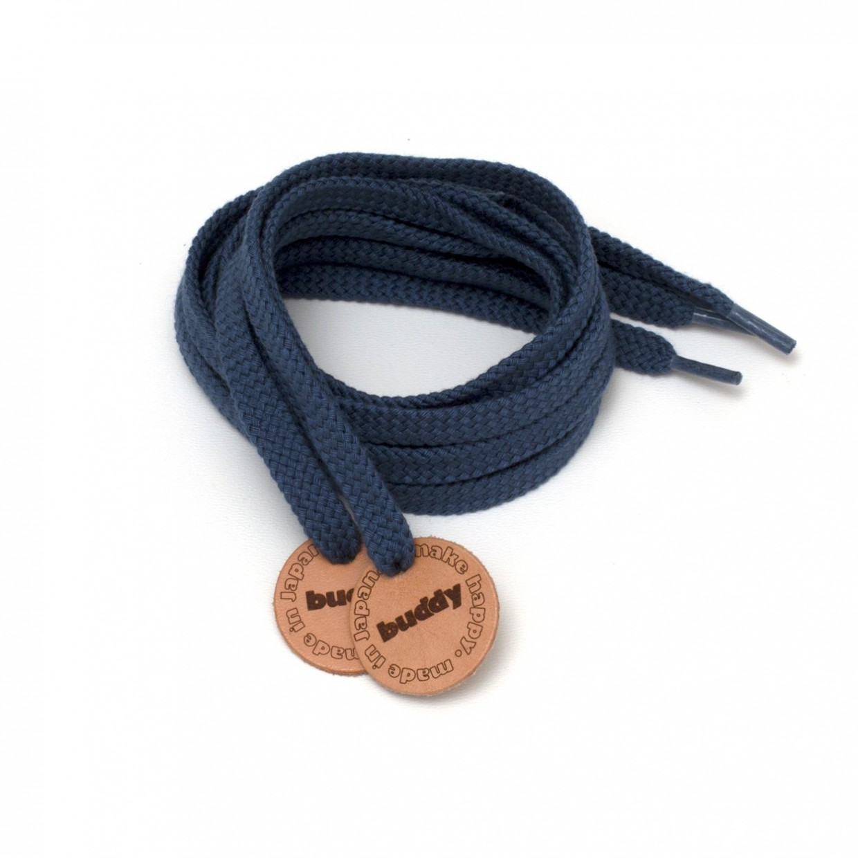 """Shoelaces Navy with Leather patch 130 cm : 51"""""""