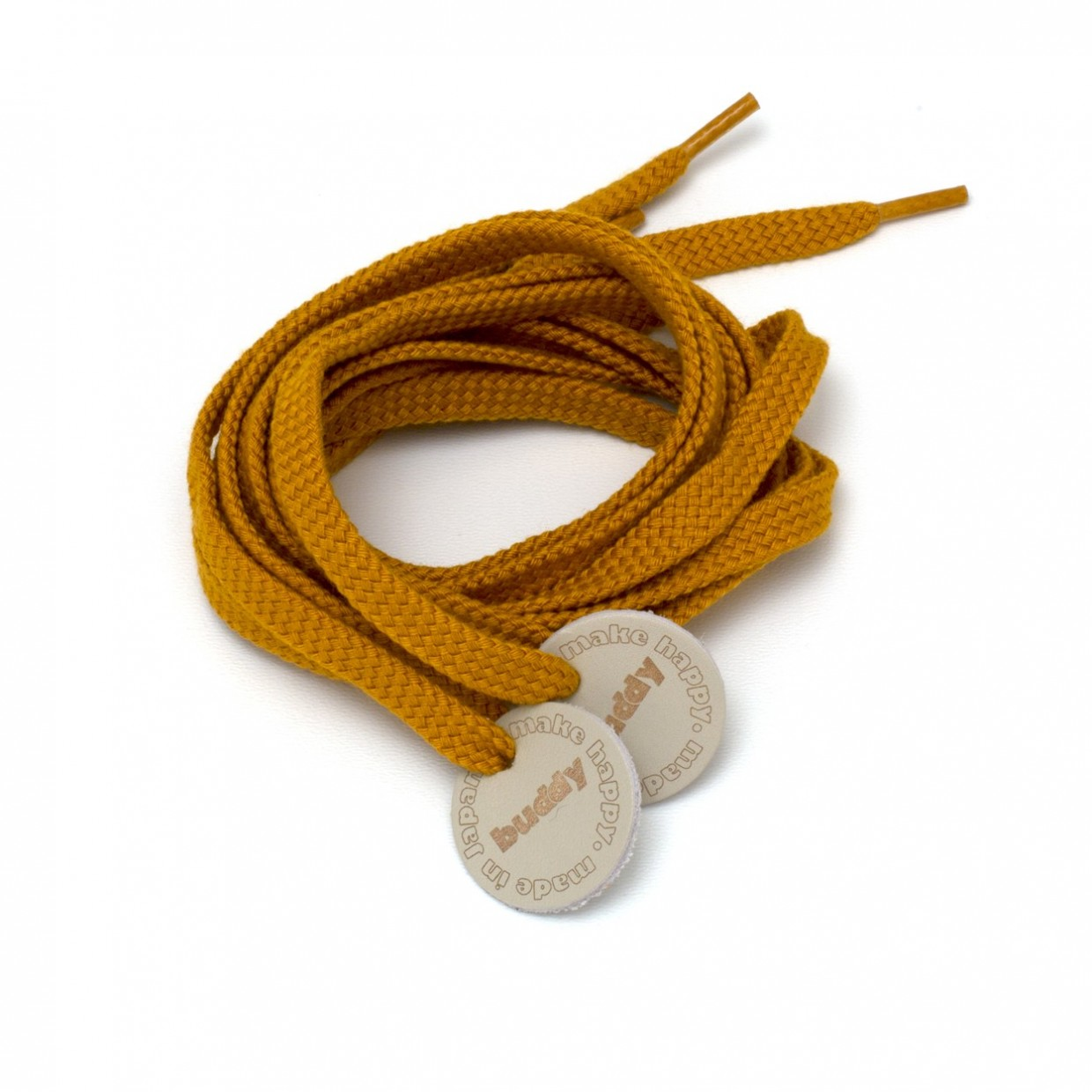 """Shoelaces Mastard with Leather patch 130 cm : 51"""""""