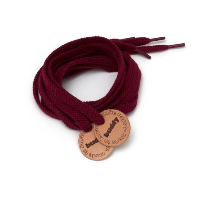 """Lacets Bordeaux avec Patch en cuir 130 cm : 51"""""""