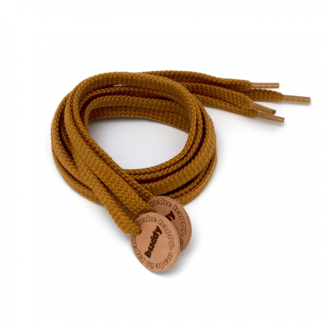 """Shoelaces Camel with Leather patch 130 cm : 51"""""""