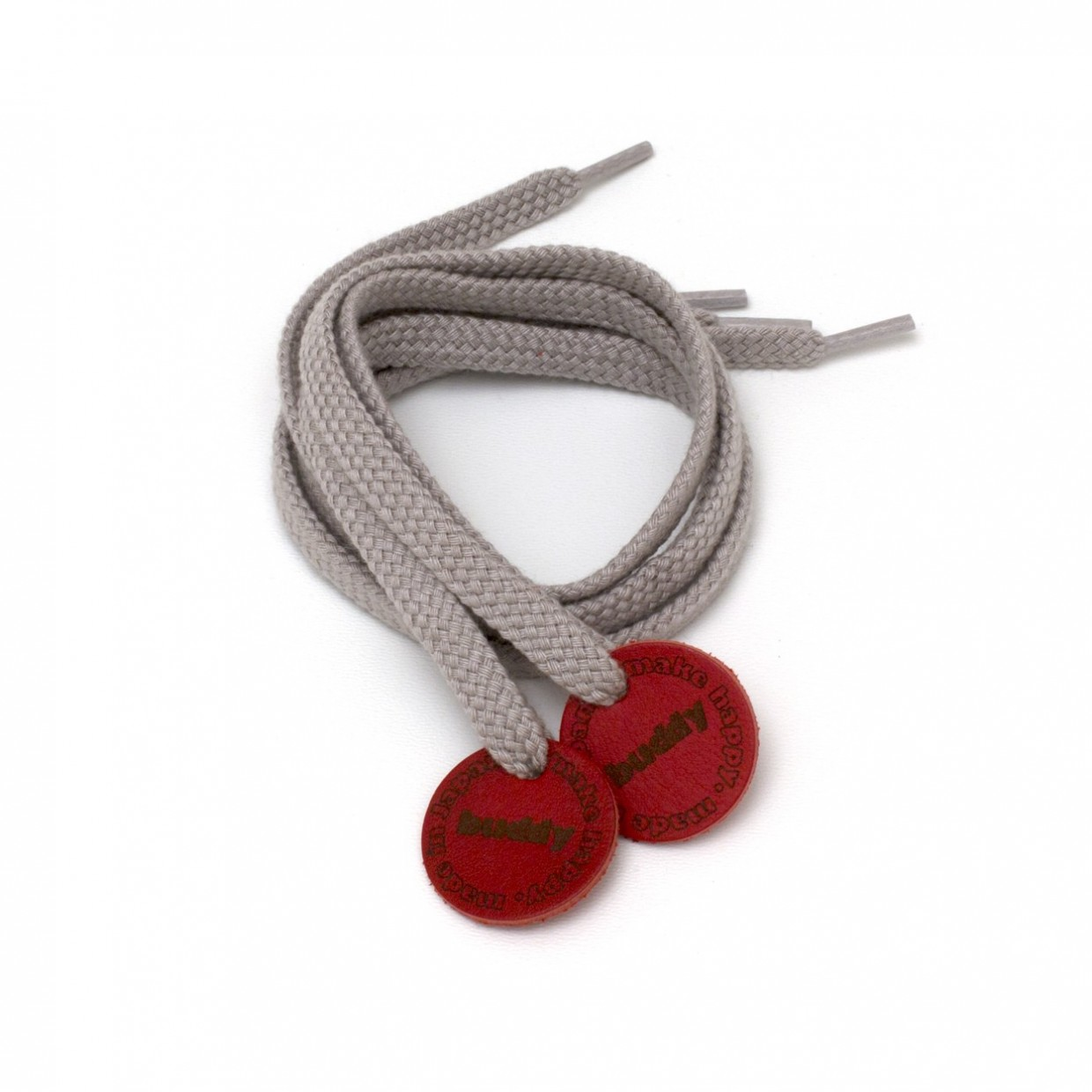 """Shoelaces Grey with Leather patch 78 cm : 31 """""""